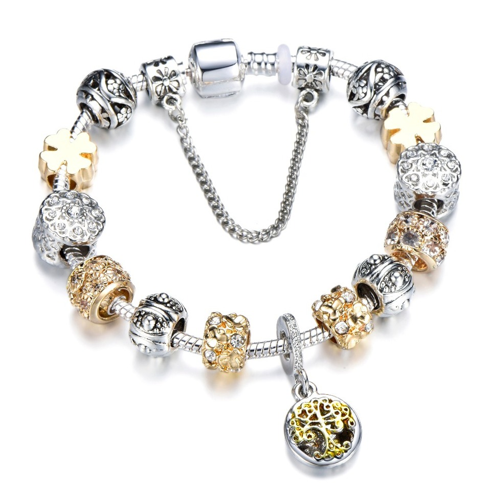Crystal Heart Gold Color Charm Bracelet For Girl Glass Beads Bracelet For Women DIY Jewelry Gift Light Yellow Gold Color 21cm