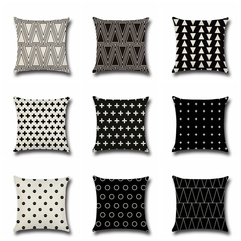 Modern Nordic Style Black And White Cushion Covers Geometric Triangles Stripes Pattern Pillow Cover Cotton Linen Pillow Case