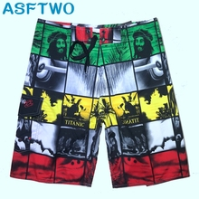 цена на ASFTWO Europe Style Board Shorts Surfing Beach Shorts Printed Striped Trunks Quick Dry Swim Wear Large Bermuda For Men