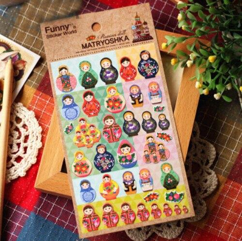 1Sheet DIY Funny Matryoshka Russian Doll Photo Seal Scrapbook Paper PVC Sticker Vintage Stamp Deco Stickers Stationery H0136 tetiana tikhovska paper doll