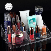2015 new Clear Makeup Organizer Cosmetic Jewelry Display Rack Cabinet Show Holder Grids Plastic Acry Storage Box Drawers