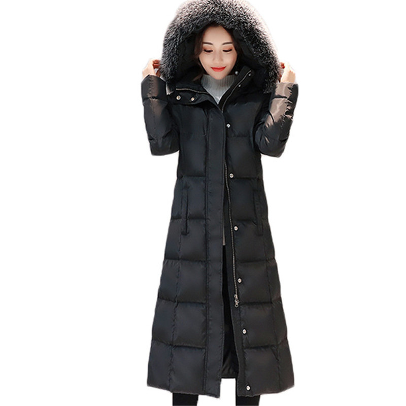plus-size 6XL 2018 new female winter   down   jacket for women long wadded   down   parks hooded real fox fur collar   down     coats   casaca