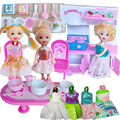 Free Shipping,doll furniture kitchen  +3pcs dolls + 4pcs dresses  doll accessories for barbie doll kelly,girl play house