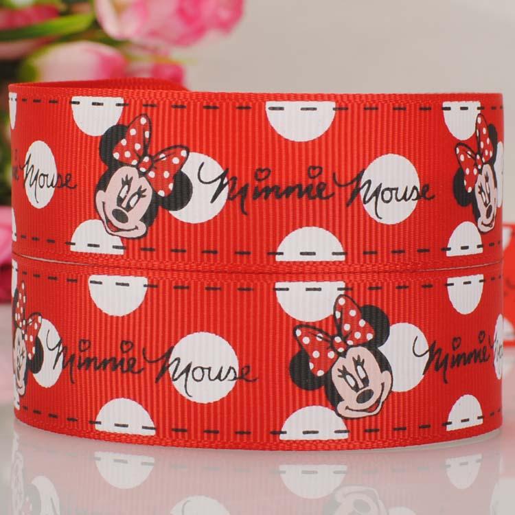 50 yards 1  25 mm red screen print Minnie mouse print grosgrain tape cartoon ribbon hiarbow free shipping