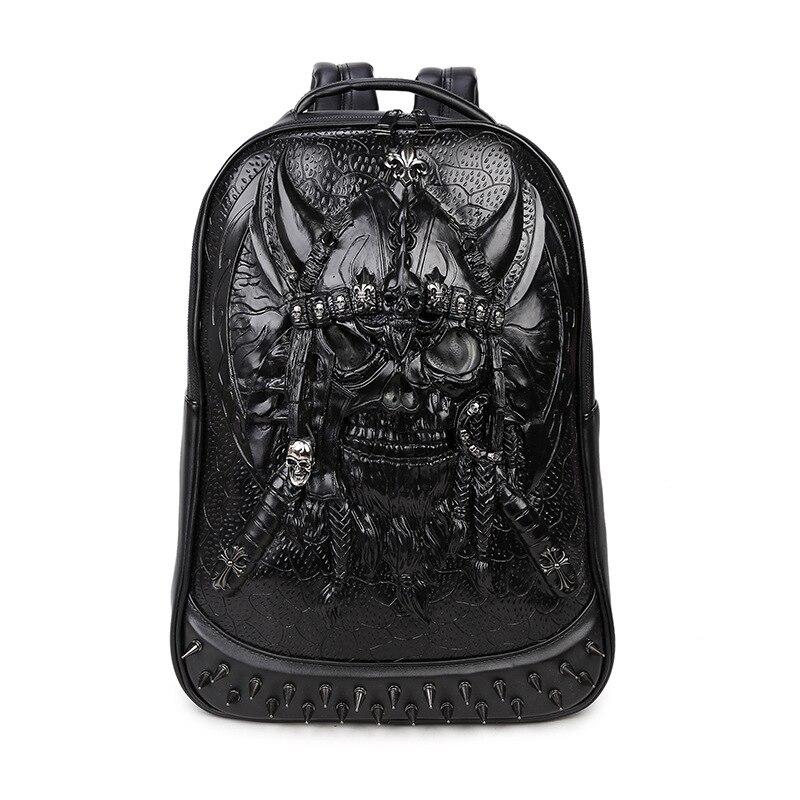 Haute qualité Design sac à bandoulière en cuir synthétique polyuréthane hommes sac à dos voyage ordinateur sac à dos 3D crâne lumineux sac à dos pour les adolescents