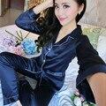 2017 Autumn Winter Long Sleeve Shirt Trousers Set Pajamas Sexy Satin Sleepwear Silk Nightgown Women Nightdress Female Nightie