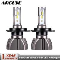 AROUSE H4 H7 Car LED Headlight Bulbs Hi Lo Beam H11 H1 H3 9005 9006 880 Auto Headlamp Fog Light CSP 50W 8000LM 6500K DC12v 24v