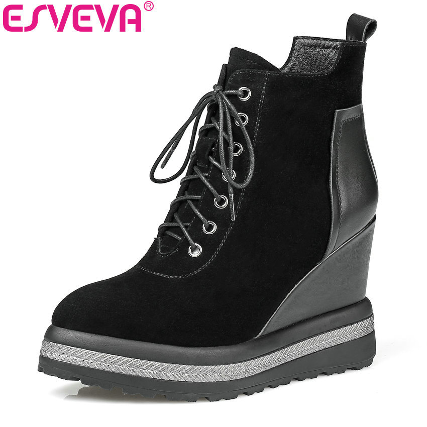 ESVEVA 2018 Autumn Western Women Boots Wedges High Heel Ankle Boots Round Toe Zippers PU+Real Leather Ladies Shoes Size 34-42 women boots 2017 autumn winter women s shoes pu leather ankle boots cowboy western pointed toe punk boots ladies big size