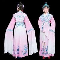 Китайский Драма одежда женская классическая Одежда для танцев huangmei опера костюм вышитые цветы платье Королевский сцены Hanfu