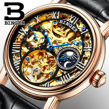 2019 Skeleton watch Switzerland BINGER Fashion Automatic Watch Men Tourbillon Moon Phase 12 hours display Leather Strap Sapphire Mechanical Watches