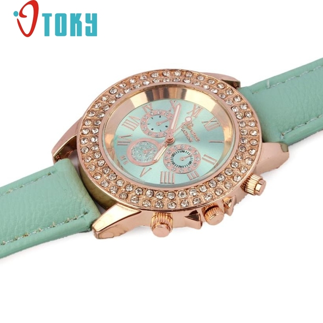 Hot Sales Girl Women rhinestone watch Fashion Crystal Leather Band Bracelet watches Women Dress Wristwatch Gift dropshipping