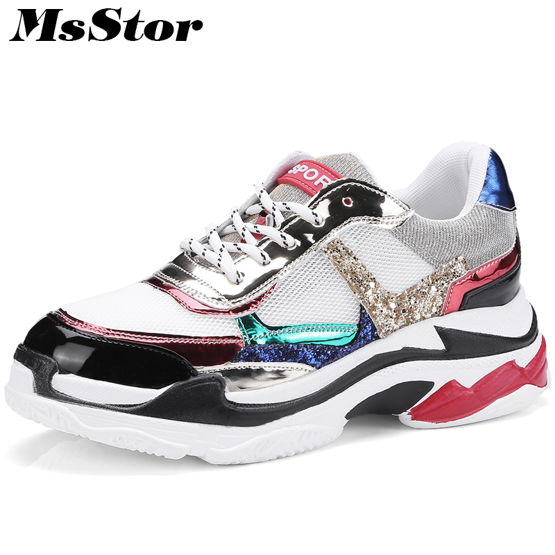 MsStor Mesh Breathable Flats Shoes Woman Mixed Color Casual Thick Bottom Height Increasing Women Shoes Sneakers Flat Shoes Women instantarts 2018 new fashion women casual flats anatomical hearts pattern air mesh sneakers breathable female flat shoes woman