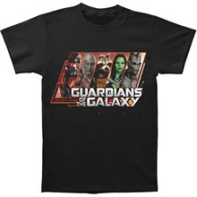 100% Cotton Straight O-neck Short Sleeve Guardians Of The Galaxy Portrait Men's T-shirt – Black