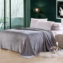 150*200 cm Manta de Franela de color sólido ropa de cama sofá Lanza primavera Otoño Tela Escocesa delgada suave