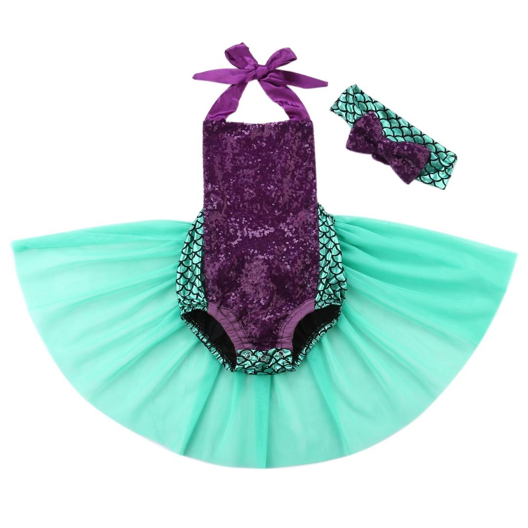 0 24M Babies Girl Sequin Mermaid Tulle Bodysuits Baby Girl Halter Backless Headband Bodysuit Sunsuit Outfits
