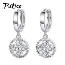 Boutique Lady AAA Geometric Round Cubic Zirconia Dangel Earrings Boucle Doreille Femme 2019 Cartilage Piercing Earings Jewelry