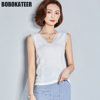 BOBOKATEER Summer Sleeveless White Shirt Lace Blouse Women Shirts Ladies Off Shoulde Top Blusas Womens Tops