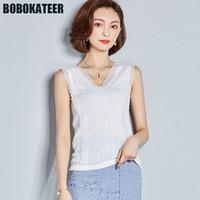 BOBOKATEER Summer Sleeveless White Shirt Lace Blouse Women Shirts Ladies Off Shoulde Top Blusas Womens Tops