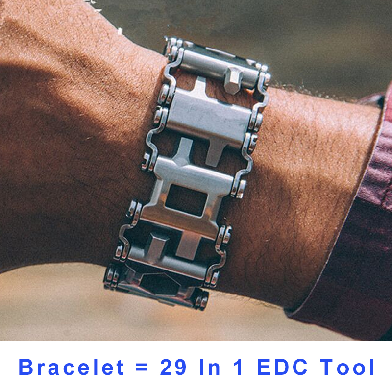 29 In 1 Multi-Function Hiking Camping Survival Outdoor EDC Tools Men & Women Bracelets Stainless Steel Bracelet Link Design cukyi household electric multi function cooker 220v stainless steel colorful stew cook steam machine 5 in 1