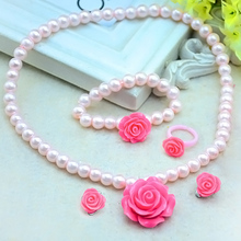 1 set Hot sale Kids Girls Child Imitation Pearl Flower Shape Necklace+Bracelet+Ring+Ear Clips Jewelry Set Gift C450