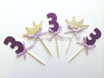 Glittery MIX of Number and Tiara Cupcake Toppers with Hand Tied Bow Birthday Cupcake Topper wedding anniversity cake topper image
