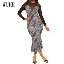 WUHE Summer Super Fire Patchwork See Through Mesh Sequined Tuxedo Dress Elegant Women Formal Night Wine Party Black Sheer