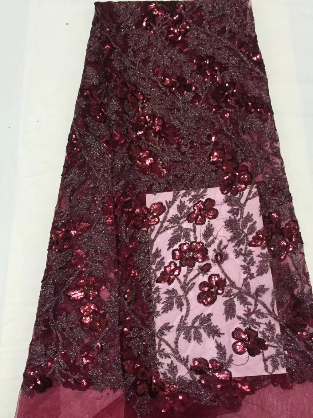 Red Color Nigerian French Lace Fabrics 2018 African Tulle Lace Fabric High Quality African Lace Wedding Fabric For Dress sequinsRed Color Nigerian French Lace Fabrics 2018 African Tulle Lace Fabric High Quality African Lace Wedding Fabric For Dress sequins