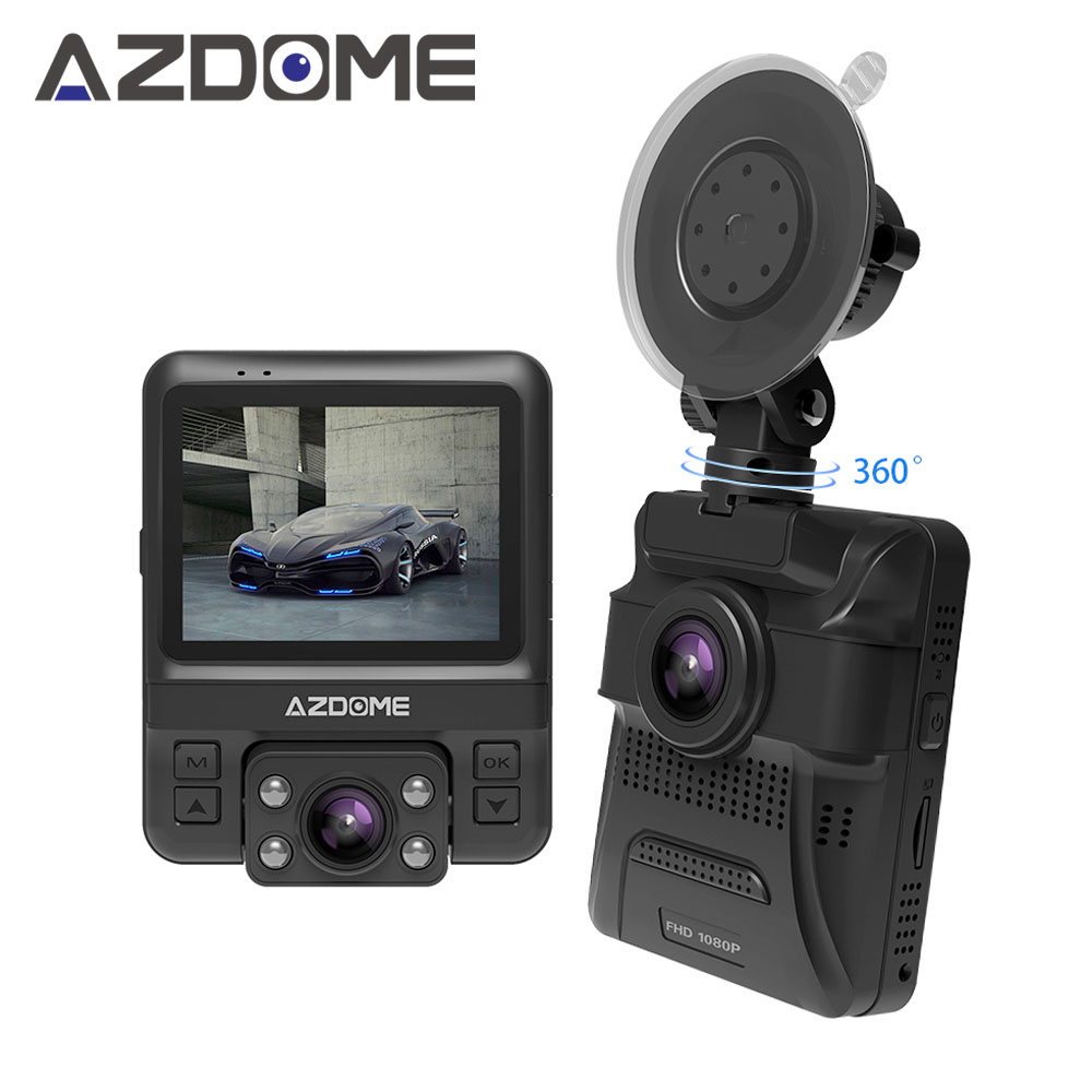 Azdome GS65H Original NOVATEK NT96655 Mini Dual Lens Car DVR Dash Cam Front Full HD 1080P / Rear 720P Video Recorder Car Camera