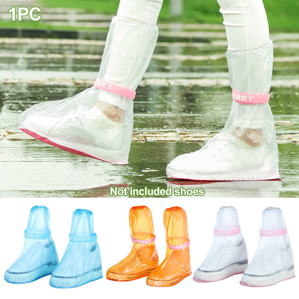 1pair Rain Shoe Covers Ribbon High-Top Anti-Slip Rain Shoes Case Unisex Waterproof Protector Shoes Boot Cover Reusable Thicken #