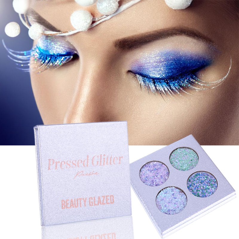 4 Colors Eyeshadow Palette Matte Shimmer Diamond Shimmer Eyeshadow in a Range of Colors Blush Makeup Set for Beauty
