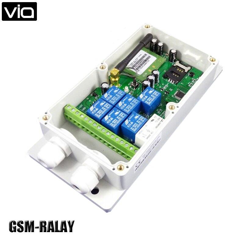 VIA GSM-RELAY Free Shipping Seven Relay Output GSM Remote Control Switch Box (QUAD Band) gsm tog gsm alarm and remote relay switch control box three big power relay output power input dc18 72v