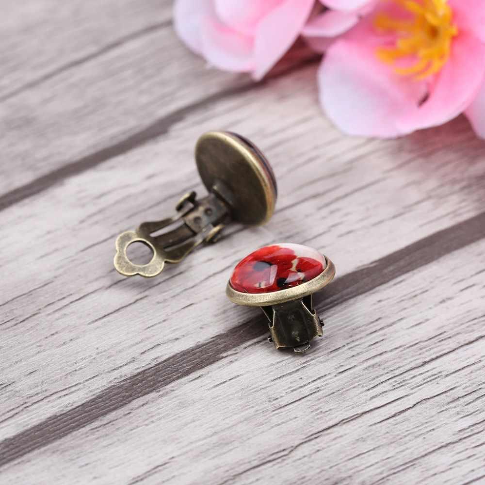 Nona JQ Perunggu Antik Bunga Kaca Cabochon Tidak Menusuk Klip Pada Anting-Anting Wanita Telinga Manset Anting-Anting Non Tindik Anting-Anting Klip
