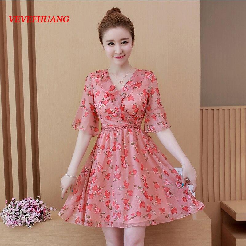 2018 New Summer Women dress Print Slim Chiffon With Closed Fairy Dresses Pink Black L0910