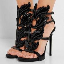 Black Pink Metallic Winged Gladiator Women Sandals 2016 High Heels Brand Sandals Summer Shoes Woman Sandalias Ladies Shoes Pumps
