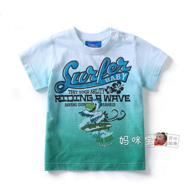 Лето стиль т - рубашки младенцы одежда марка мальчики короткий рукав t рубашка дети свободного покроя градиент надписи тройник младенческой пуловер