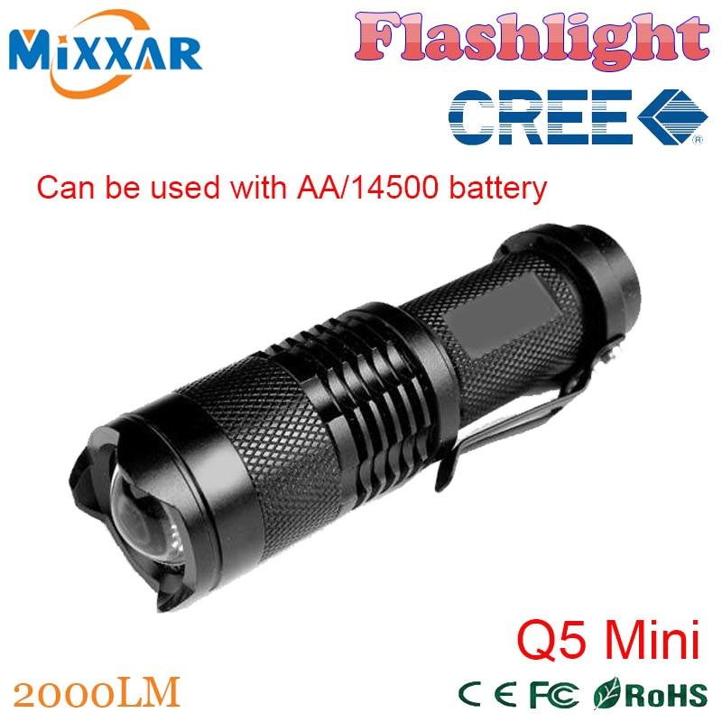 ZK92 CREE Q5 Mini Black 2000LM Waterproof LED Flashlight 3 Modes Zoomable LED