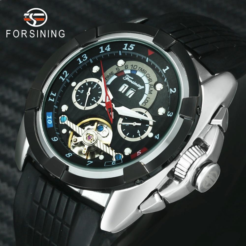 FORSINING Outdoor Sport Automatic Tourbillon Mechanical Watch Men Calendar Silicone Strap Creative Mens Watches Top Brand Luxury