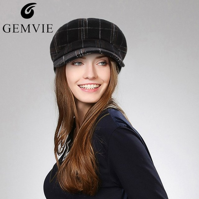 8f46b44b0eb GEMVIE Fall Winter Hats For Women Fashion Plaid Wool Beret Hat Vintage  Style Lady Flat Top Newsboy Cap Casual Military Hat