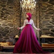 Erstaunliche Super Muslimischen 2016 Gorgeous A-Line Spitze Appliques Chiffon abendkleid Formale Frauen Prom Kleider