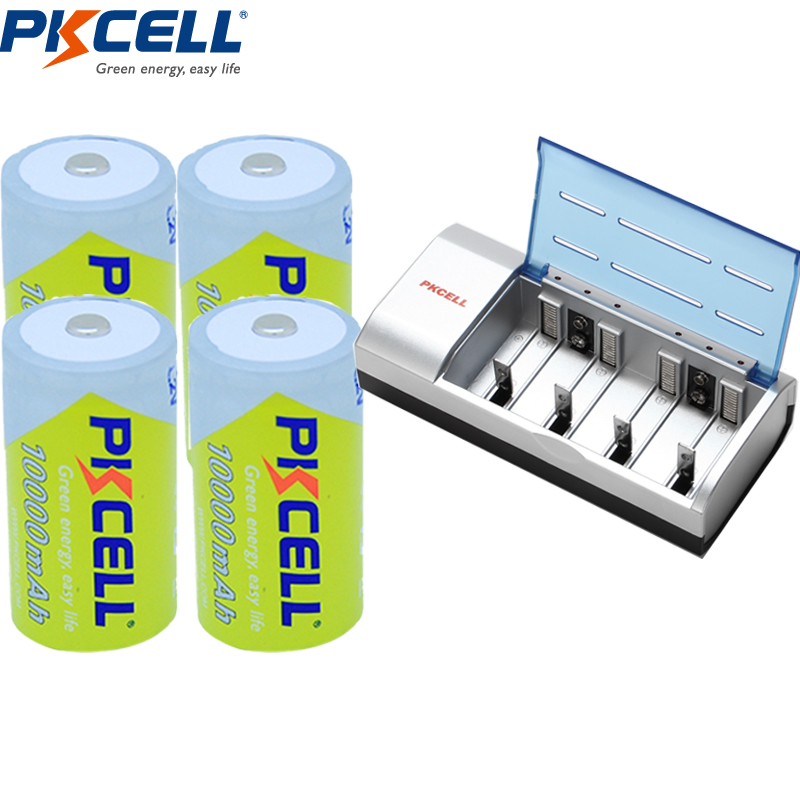 1 PKCELL Size D Battery Charger 1 2V 10000Mah D size Rechargeable Battery