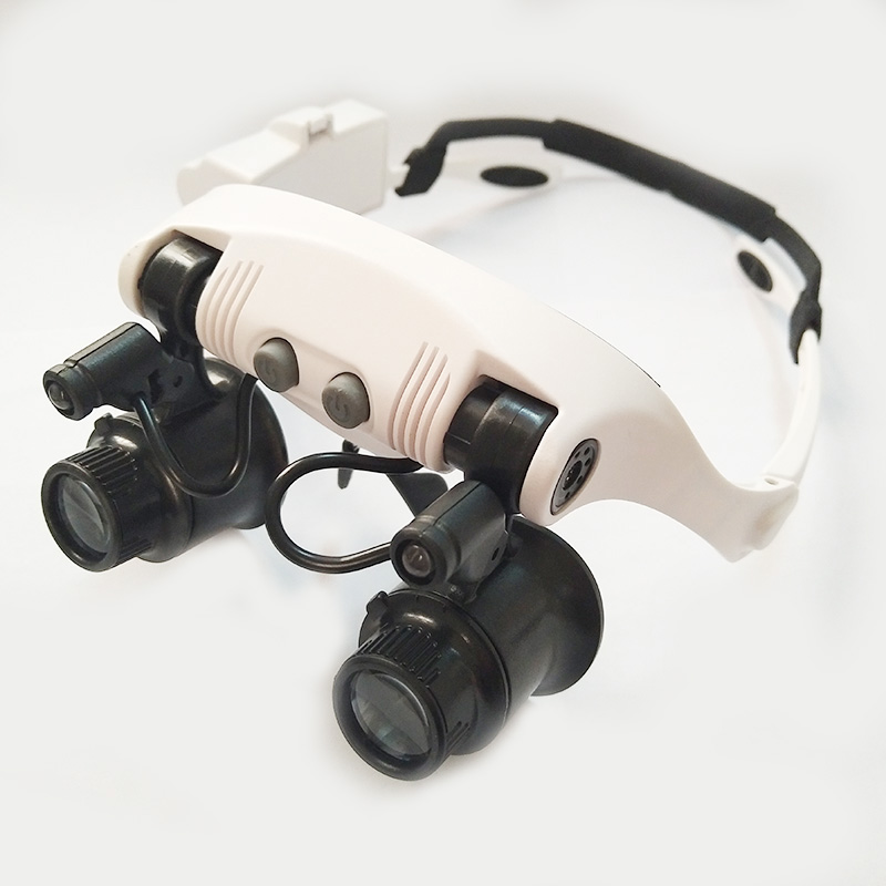 10X 15X 20X 25X Multi-Power Magnifier Double Eye Glasses Loupe Lens Jeweler Watch Repair Measurement with 8 Lens and LED