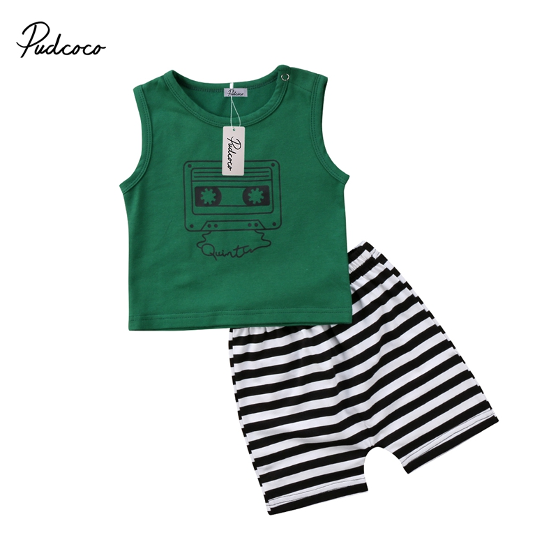 Cute Infant Baby Boy Summer New Fashion Casual Cartoon Print Sleeveless Vest Tops+Striped Short Outfit Set 0-24M HOT SALE