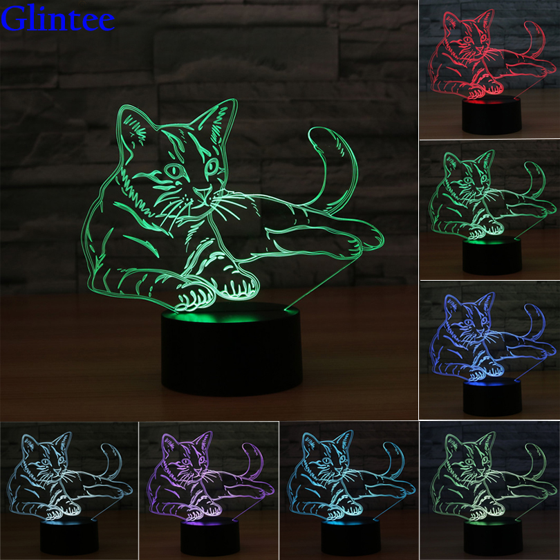 Lovely 3D Cat Night Lights Animal Lampen 7 Color Touch Table Lamp 3D Illusion for Christmas Kids Baby Gifts Toys LED Night light 45x45 025