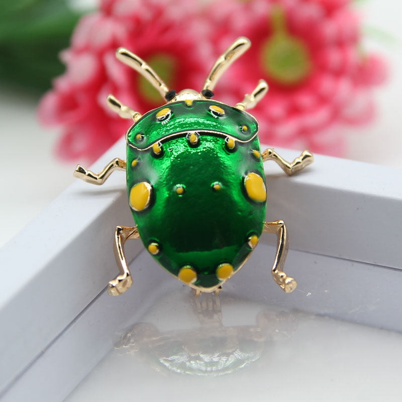 Women Enamel Vivid Beetle Insect Suit Shirt Brooch Collar Pin Jewelry Gift