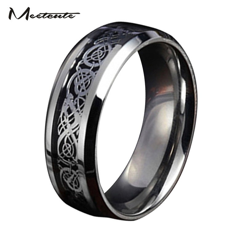Meetcute dragon stainless steel jewelry wedding band ring men male ring for lovers 7-10 size