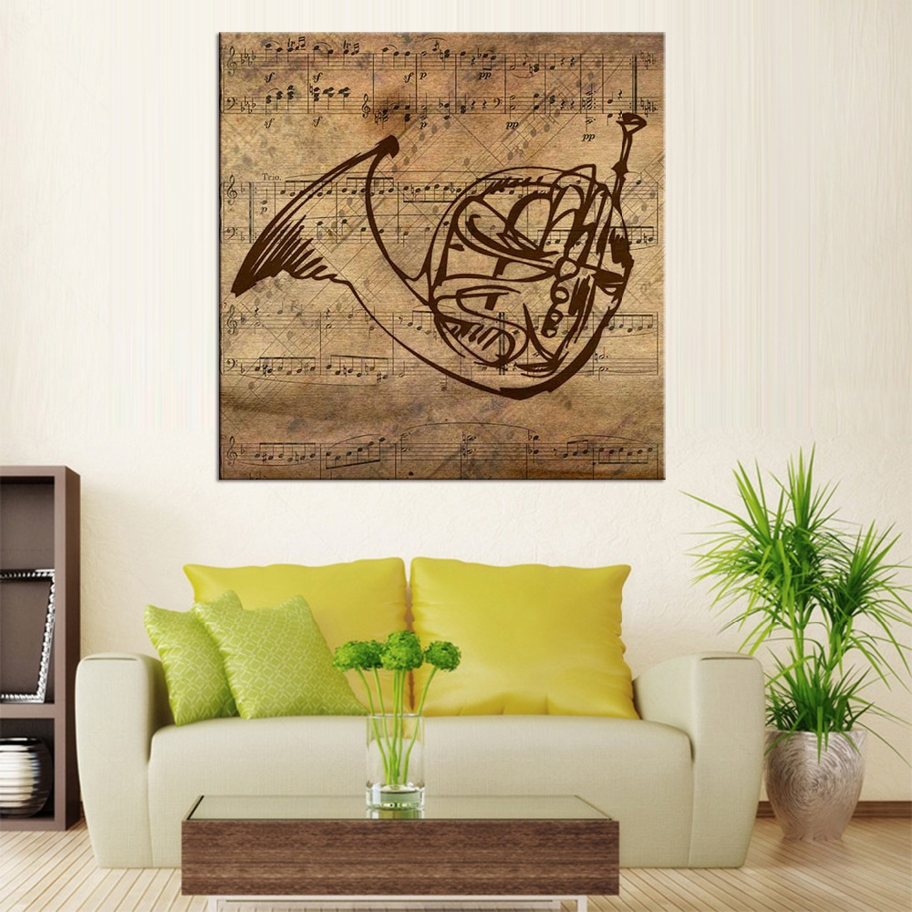 online get cheap music instrument pictures aliexpress com 1 panel modern pictures horn musical instrument oil painting canvas wall art painting for home decoration