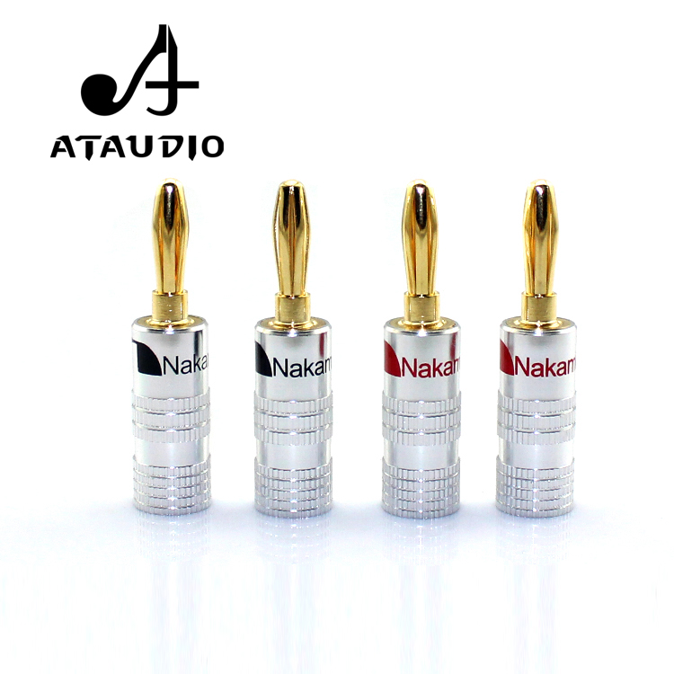 8pc ATAUDIO Hifi Nakamichi Banana Plug High Quality Gold-Plated 24K Banana Jack