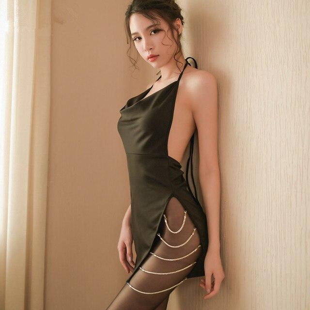 6da5a68c7685 Pijamas de vestido erótico sin espalda con abertura lateral de Babydoll  para mujeres Lencería erótica ropa interior Sexy Halter ropa interior ropa  ...