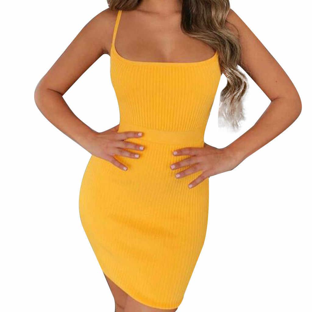 Желтое платье женское летнее платье 2019 пикантный открытый на завязках и на талии закрывающее ночной клуб платье Vestidos De Verano