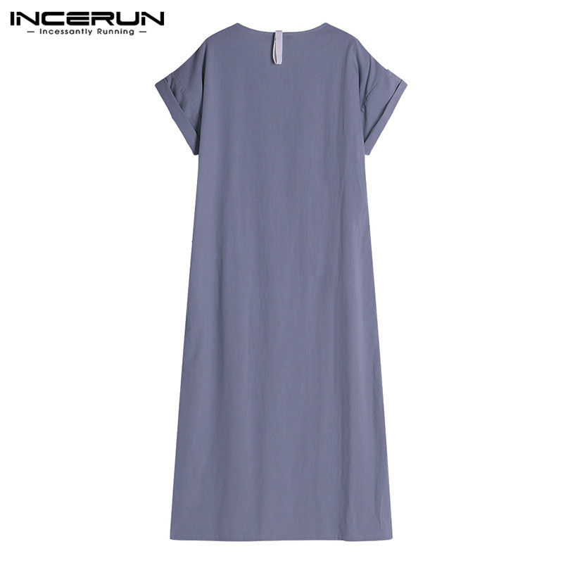 INCERUN Plus Size S-5XL Men Robes V-neck Short Sleeve Solid Color Loungewear Cotton Vintage Men Muslim Arab Islamic Kaftan 2020